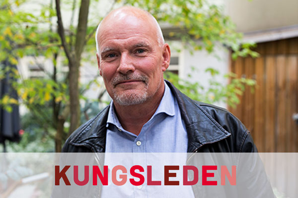 Photo of Staffan Häggdahl with Kungsleden's logo in the foreground