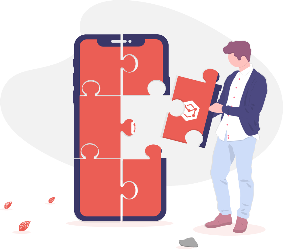 Illustrated man picking out a piece of a puzzle of a mobile phone
