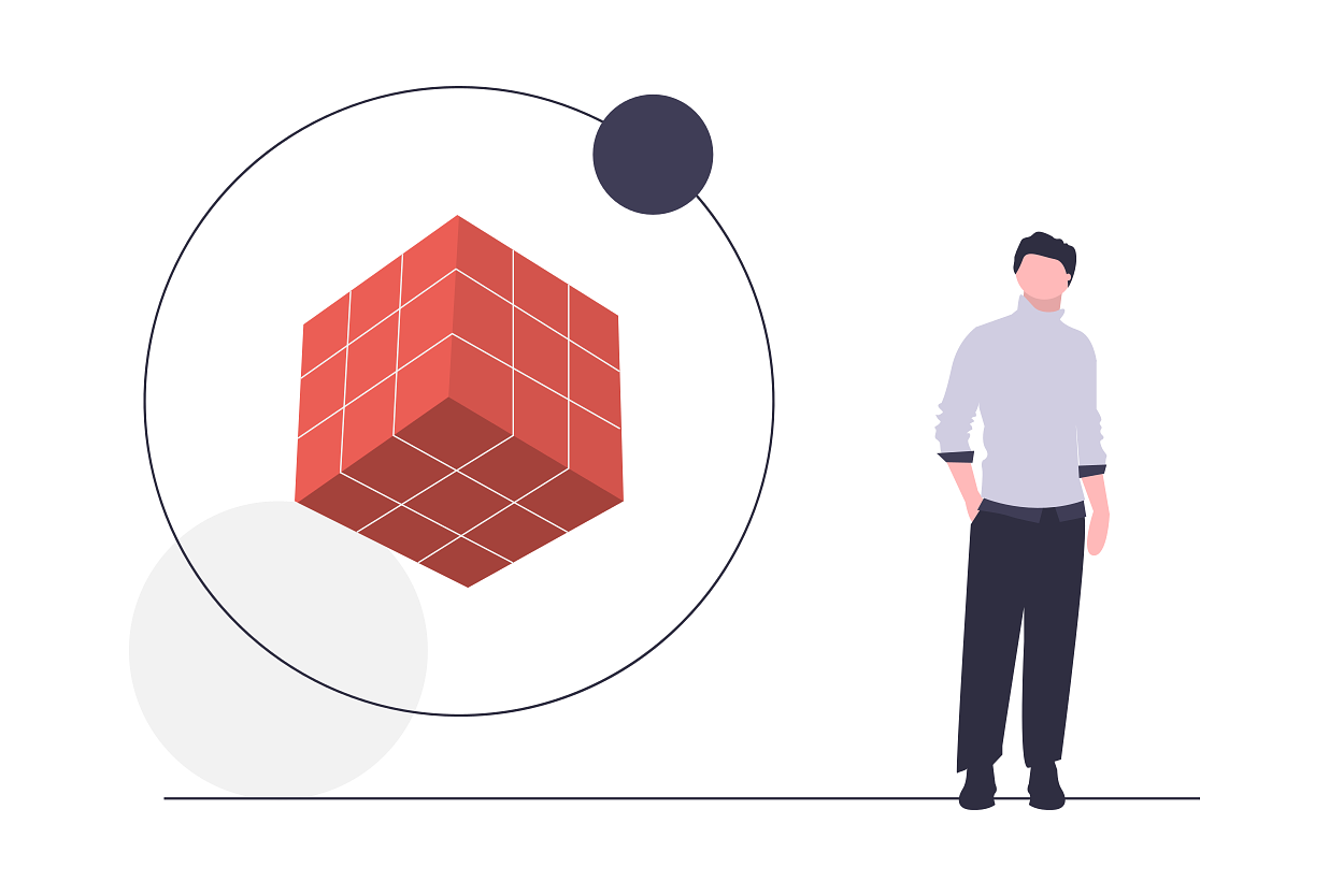 Illustrated person next to levitating cube